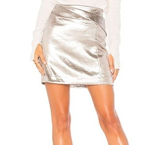 FAUX WRAP DRAPED MINI SKIRT IN METALLIC FOG